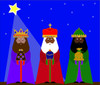 new christmas clipart image: three kings or 3 wise men with gifts for the christ child