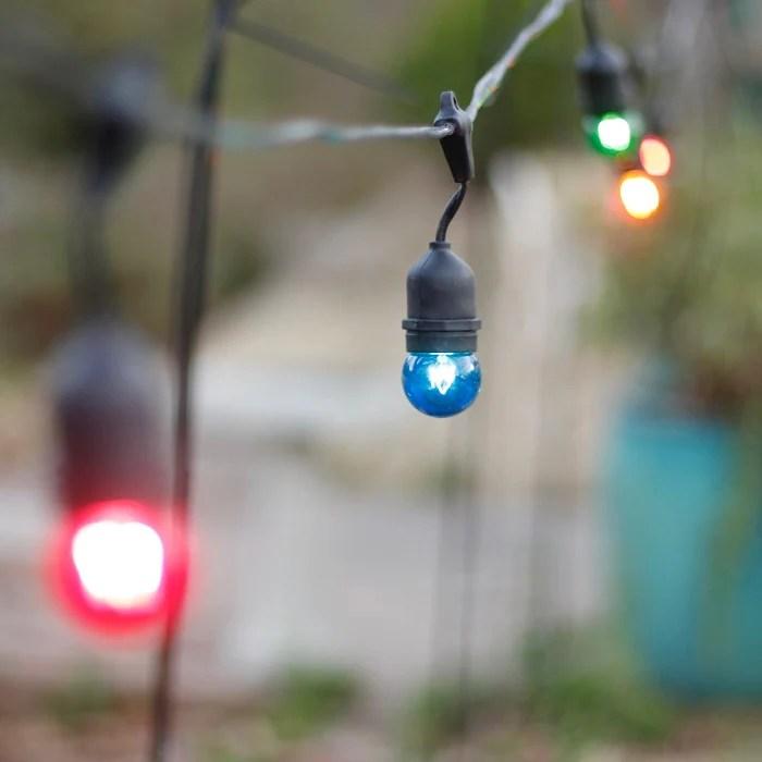 Colored Lights White Wire Globe