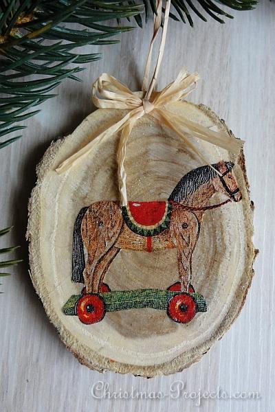 Christmas Craft Vintage Style Wood Slice Christmas Tree
