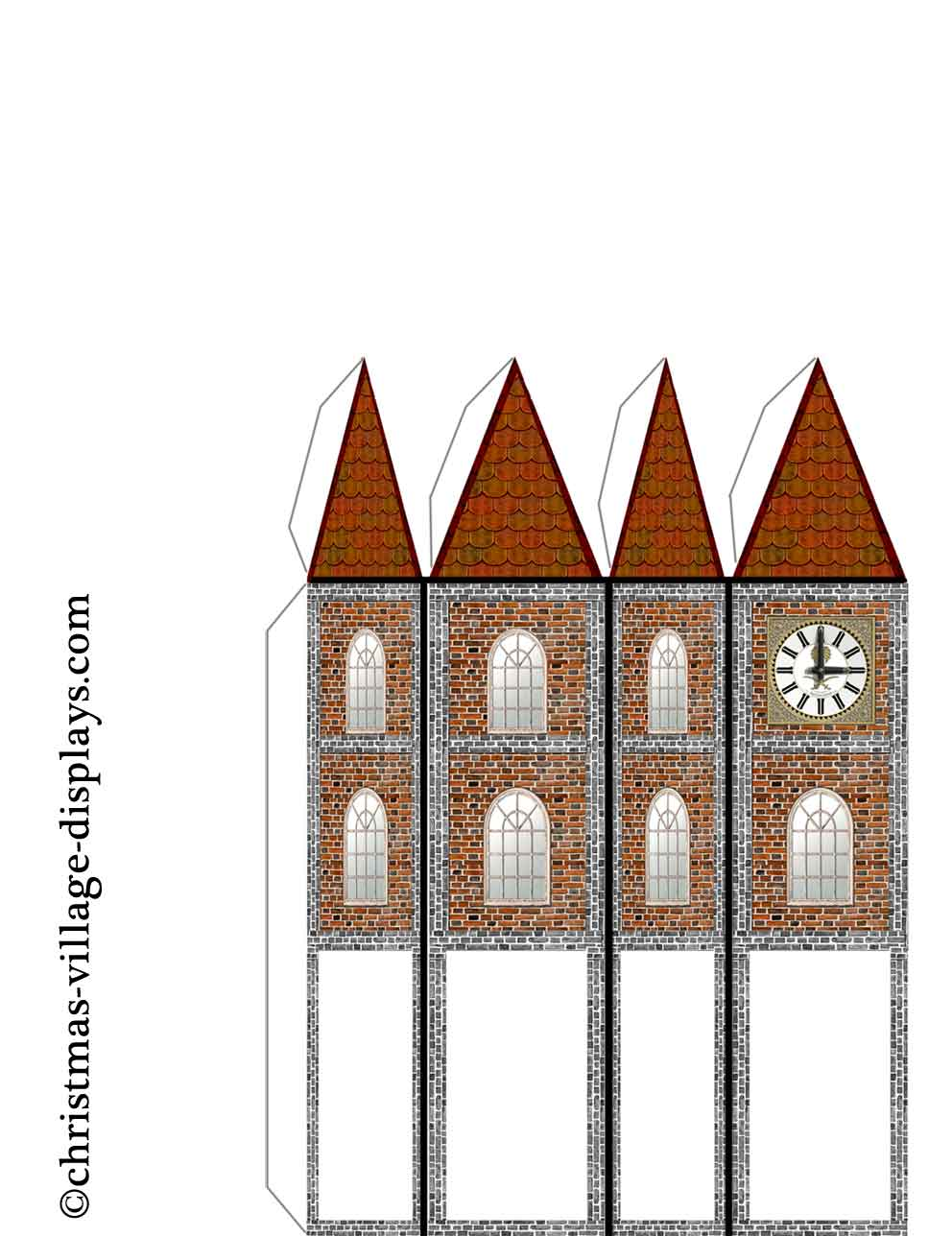 Printable Model Card Houses Christmas Village Displays