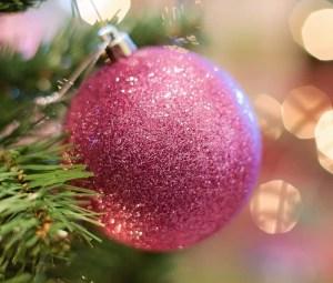 A glittery Christmas bauble