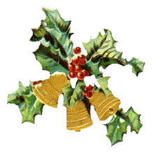 Vintage Christmas Clipart - Three Gold Bells with Holly