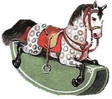 Vintage Christmas Rocking Horse Clipart