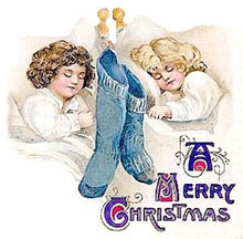 Vintage Christmas Clipart - Children Sleeping with a Christmas Stocking