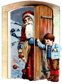 Vintage Christmas Clipart - Santa Claus at the Door with Gifts