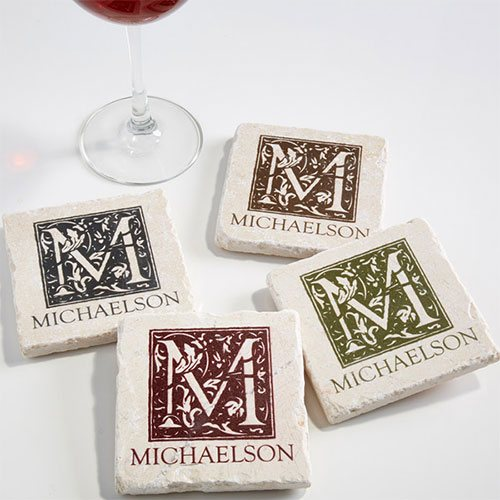 Custom Monogram Stone Coasters Christmas Gifts