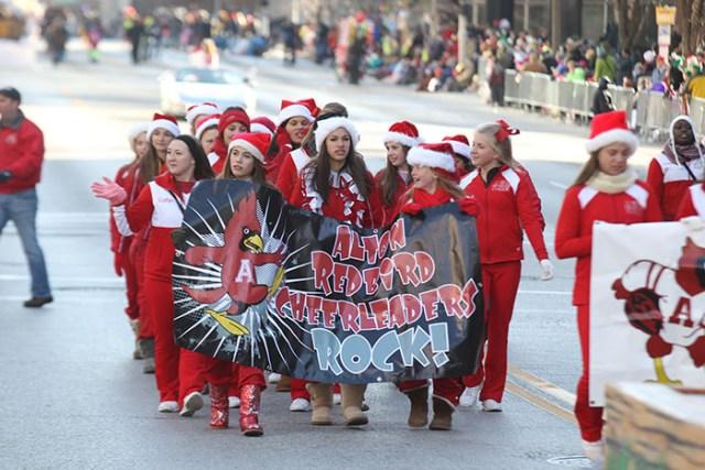 Alton Redbird Cheerleaders at the 2013 Ameren Missouri Thanksgiving Day Parade.