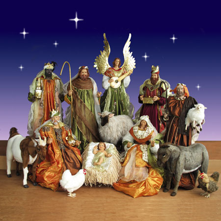 Life Size Nativity Set With Resin Figurines And Plush Animals