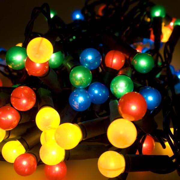 Noma 585m Length Of 40 Multi Coloured Indoor Static Berry Lights Green Cable