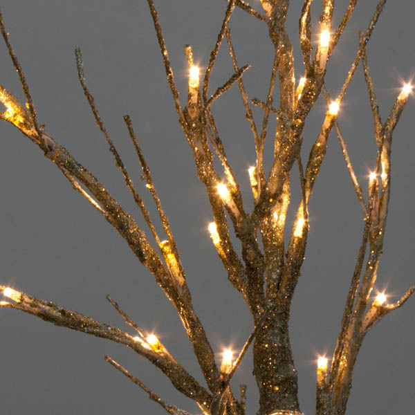 Battery Operated Gold Glitter Twig Tree With Warm White
