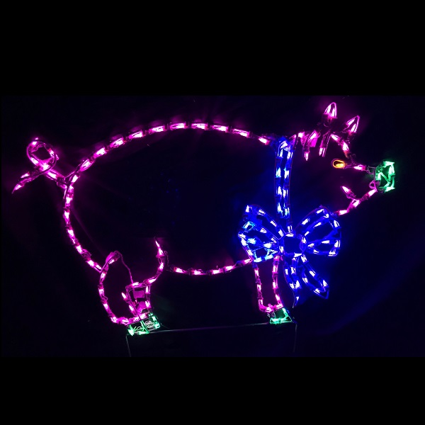 Christmas Pig Led Lighted Outdoor Lawn Decoration