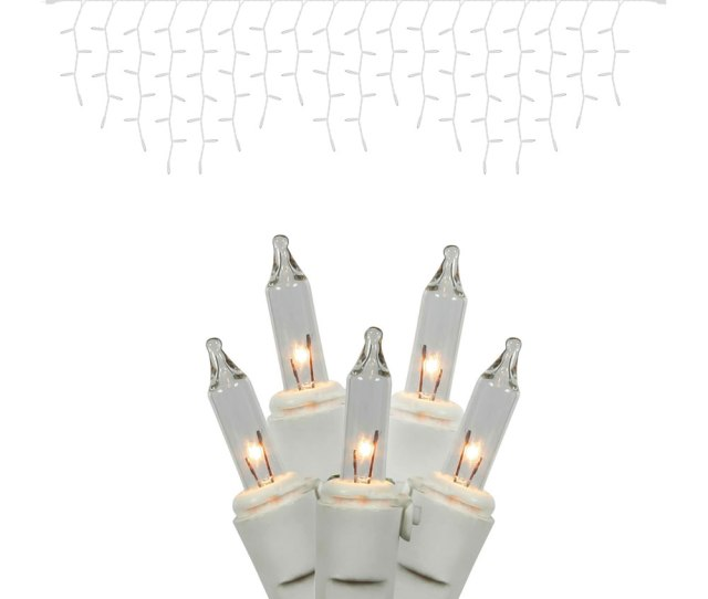 Clear Icicle Lights White Wire Box Of