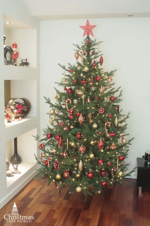 The 128pc Red Gold Full Heavy Coverage Bauble Set 6ft Trees