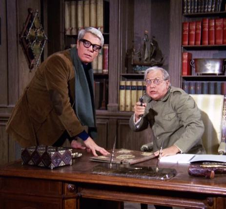 """Hallucinating despot Leo Vorka (Luther Adler) tries to convince his ghost writer Phelps (Peter Graves) that his visions are real in """"Phantoms"""""""