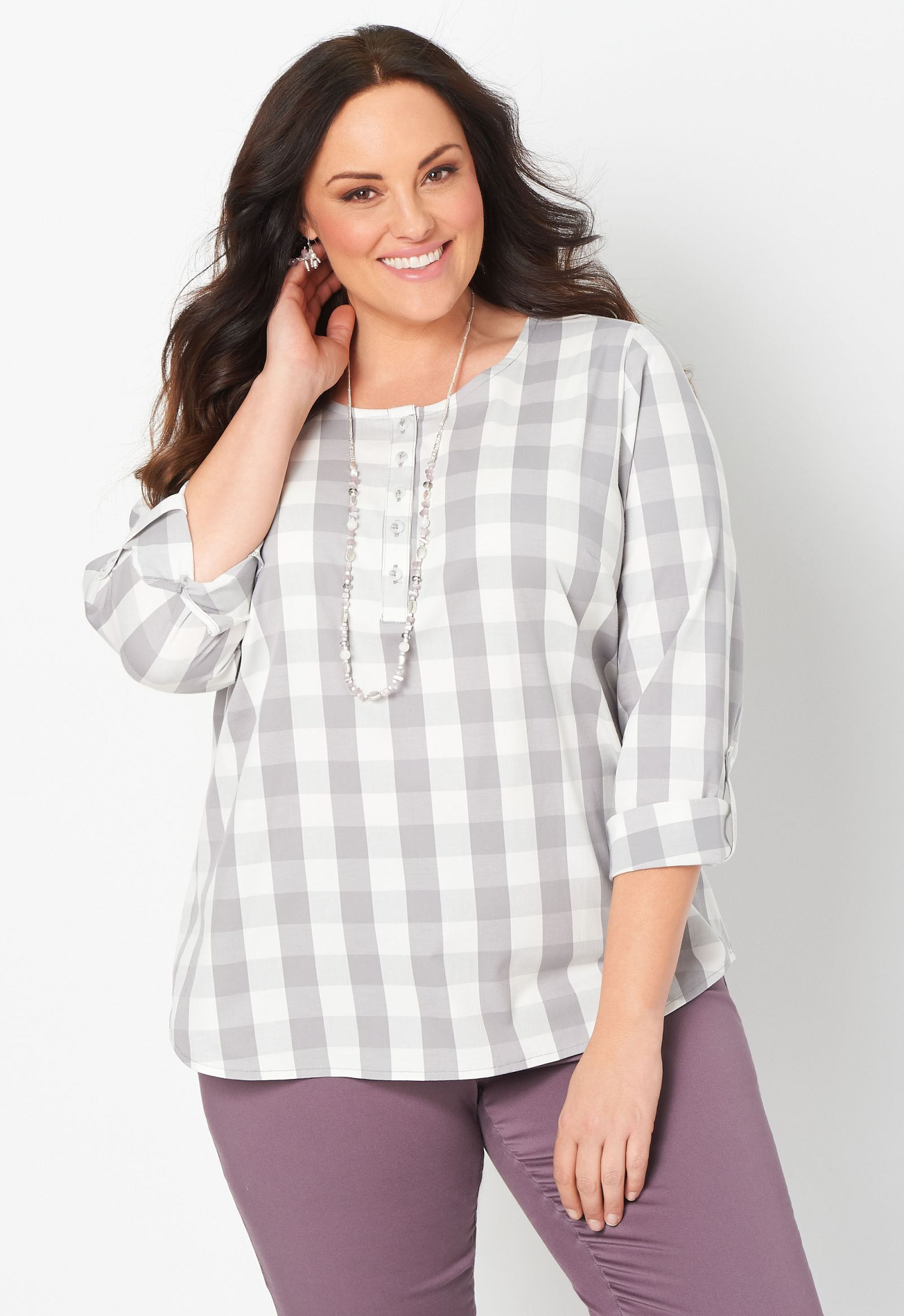 Gingham Plus Size Popover Blouse 2