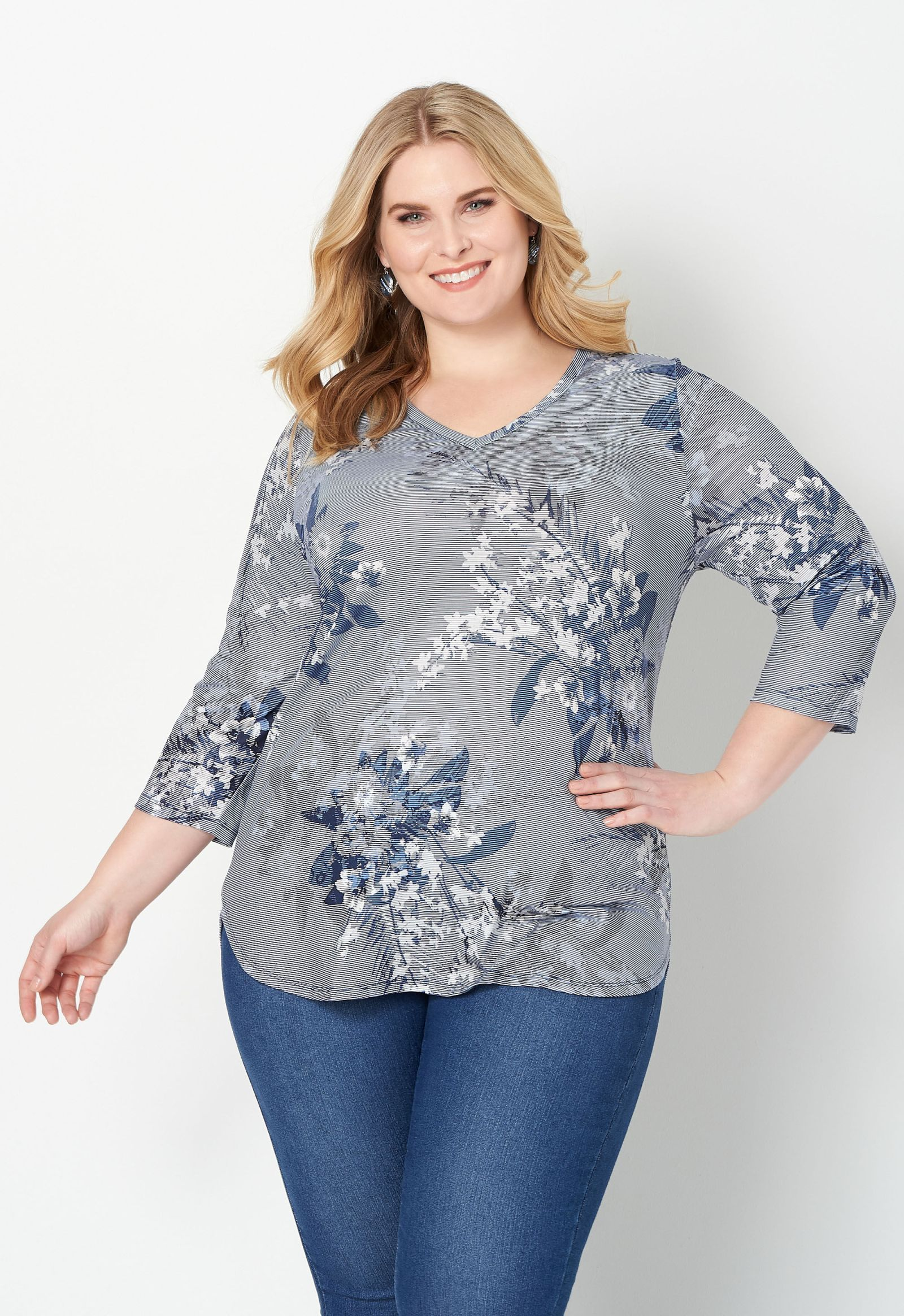 Stripe & Floral Printed Plus Size Top 2