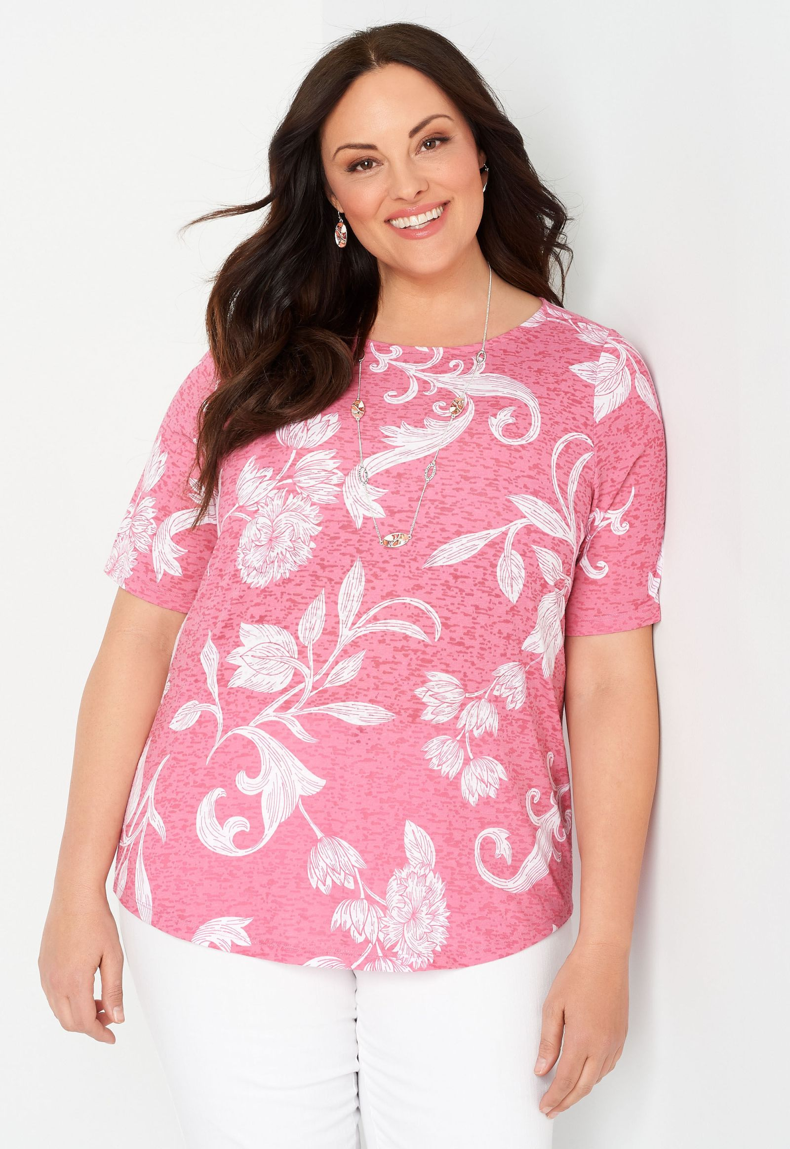 Floral Printed Burnout Plus Size Tee 2