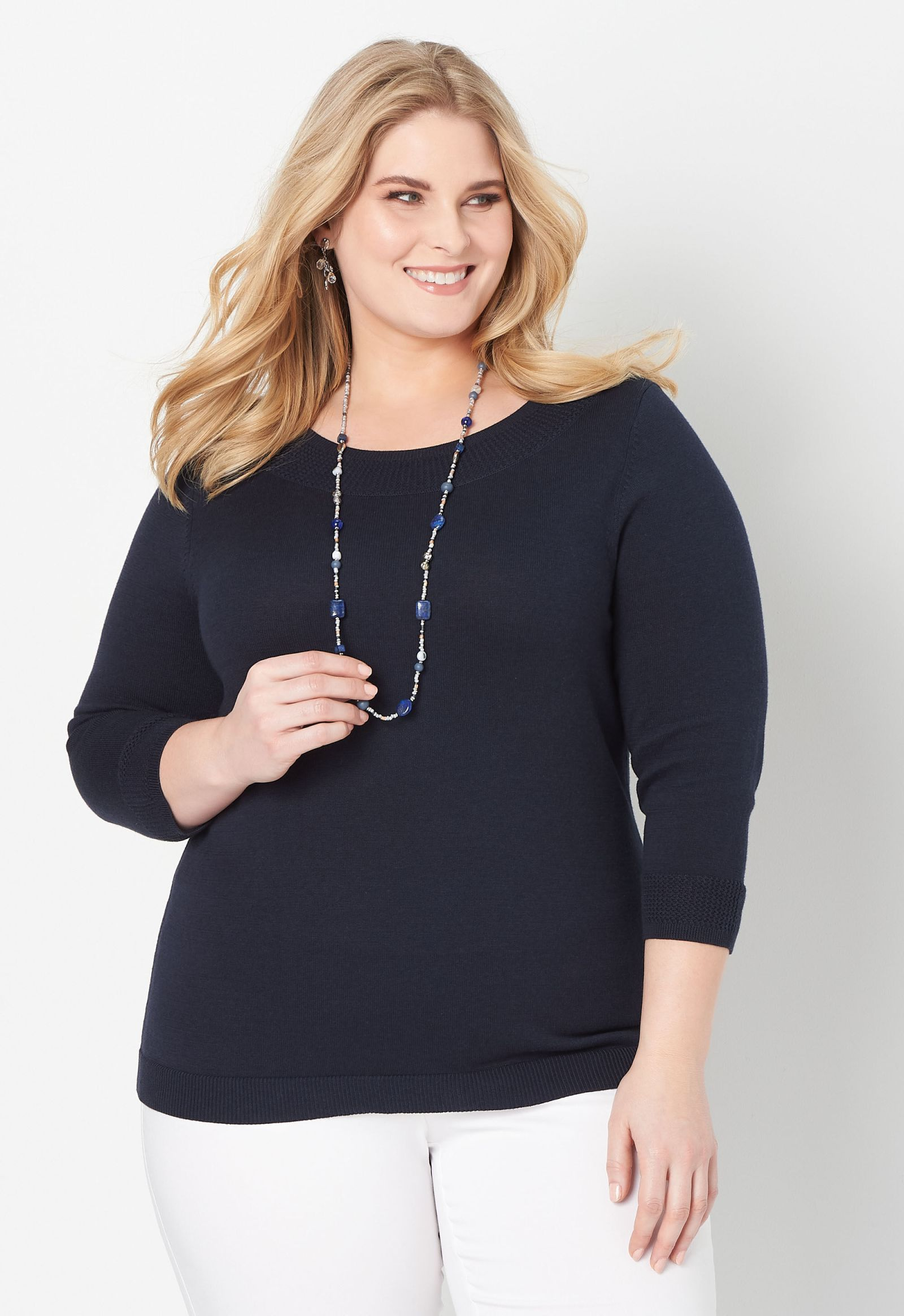 Neck Detail Plus Size Pullover Sweater 2