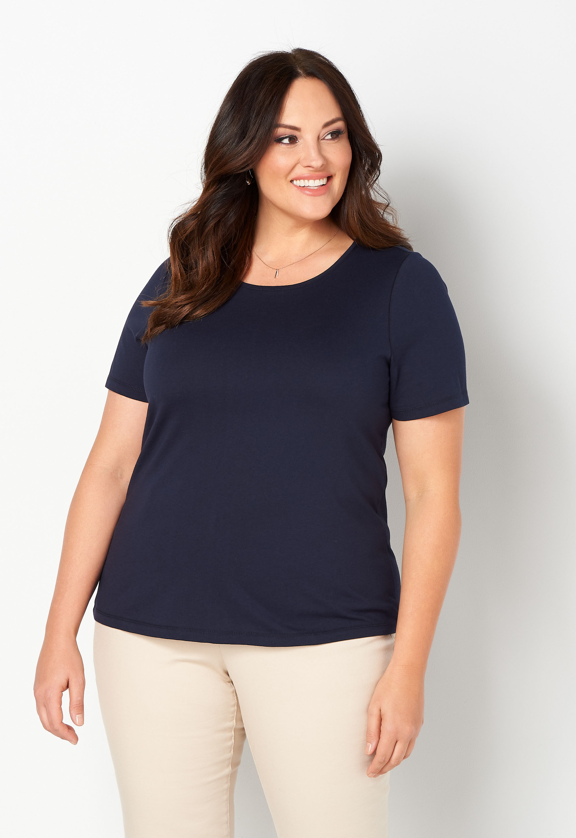 Short Sleeve Jewel Neck Plus Size Tee 5