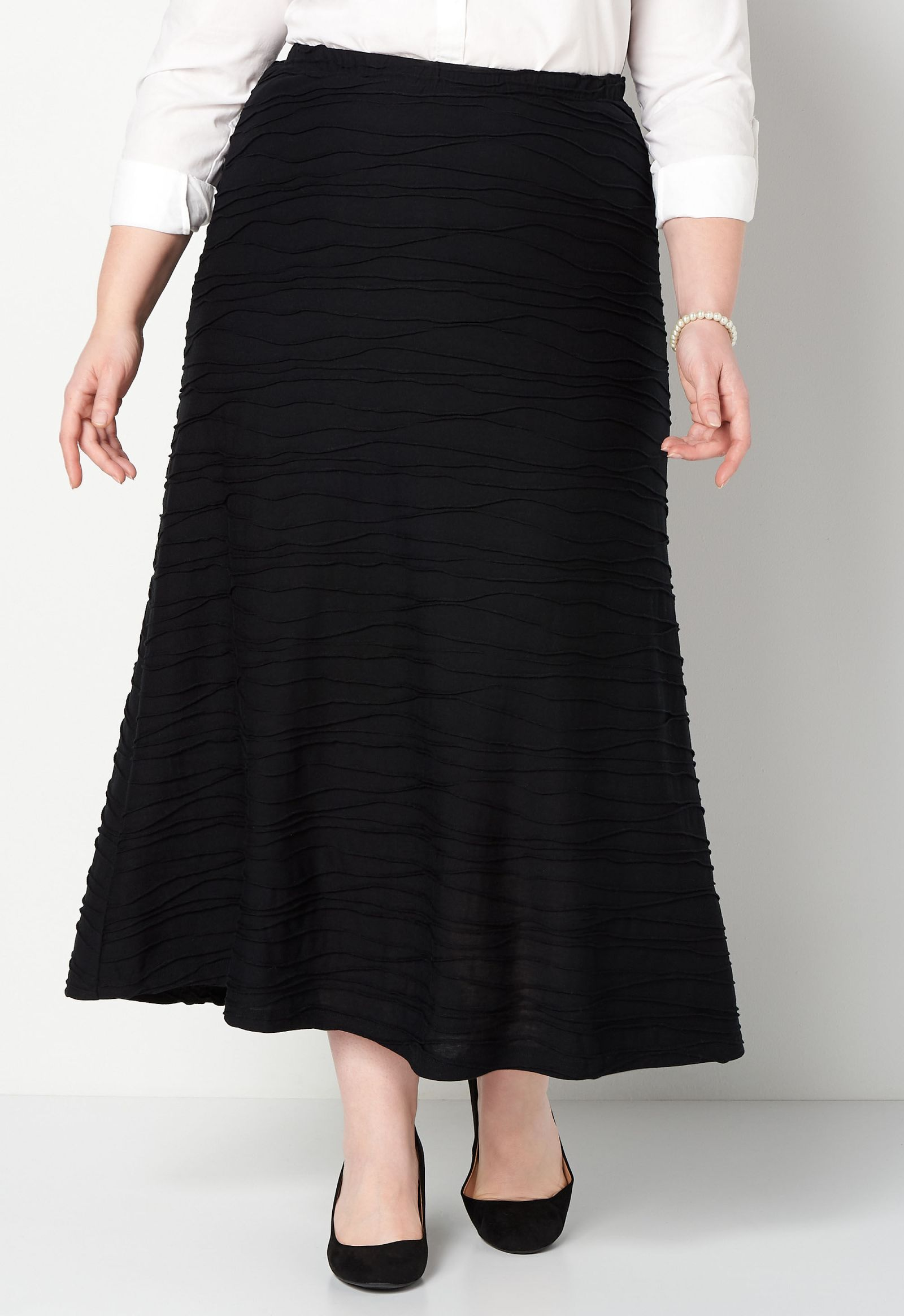 Wavy Knit Plus Size Maxi Skirt 2