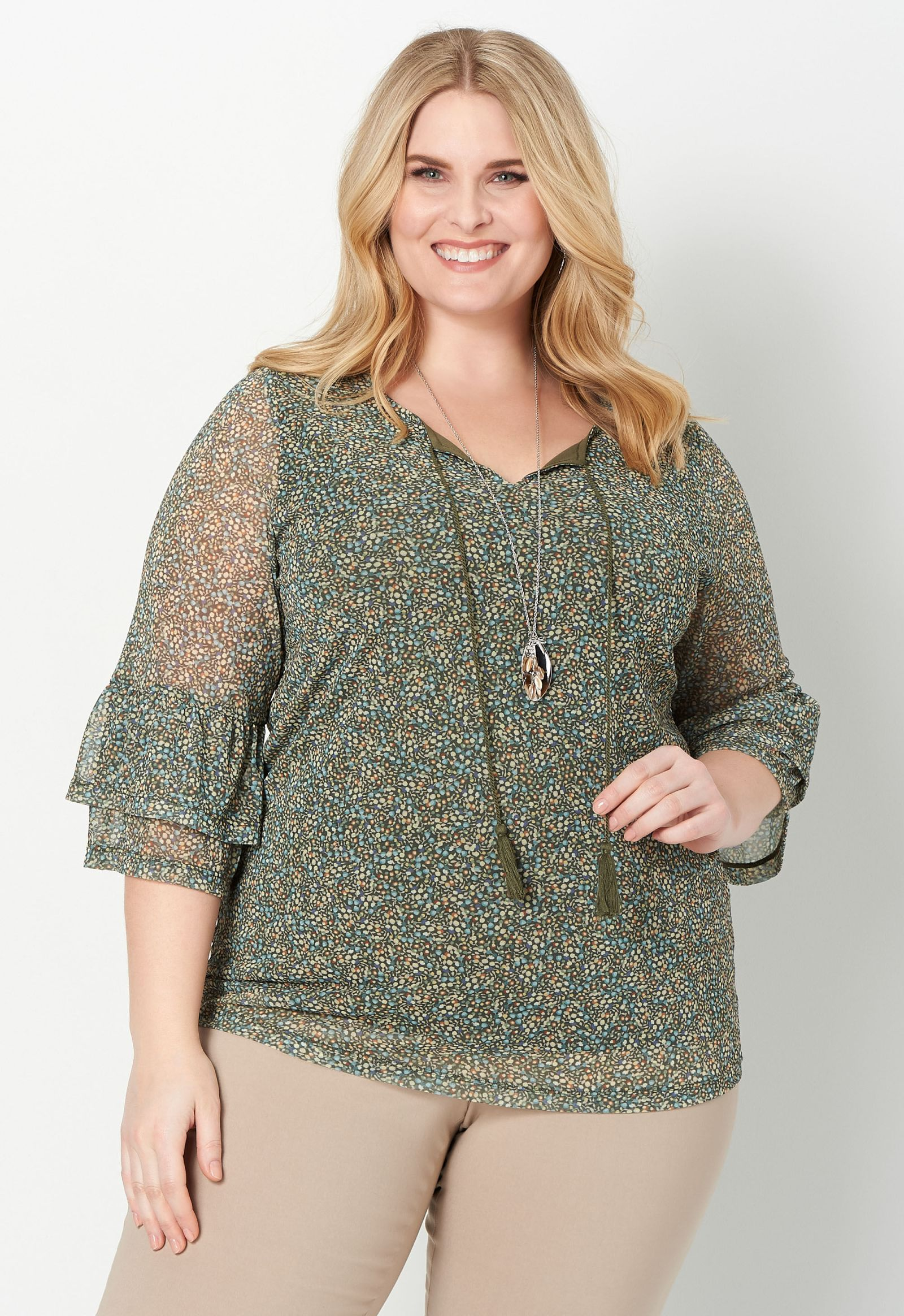 Ditsy Printed Mesh Plus Size Top 2