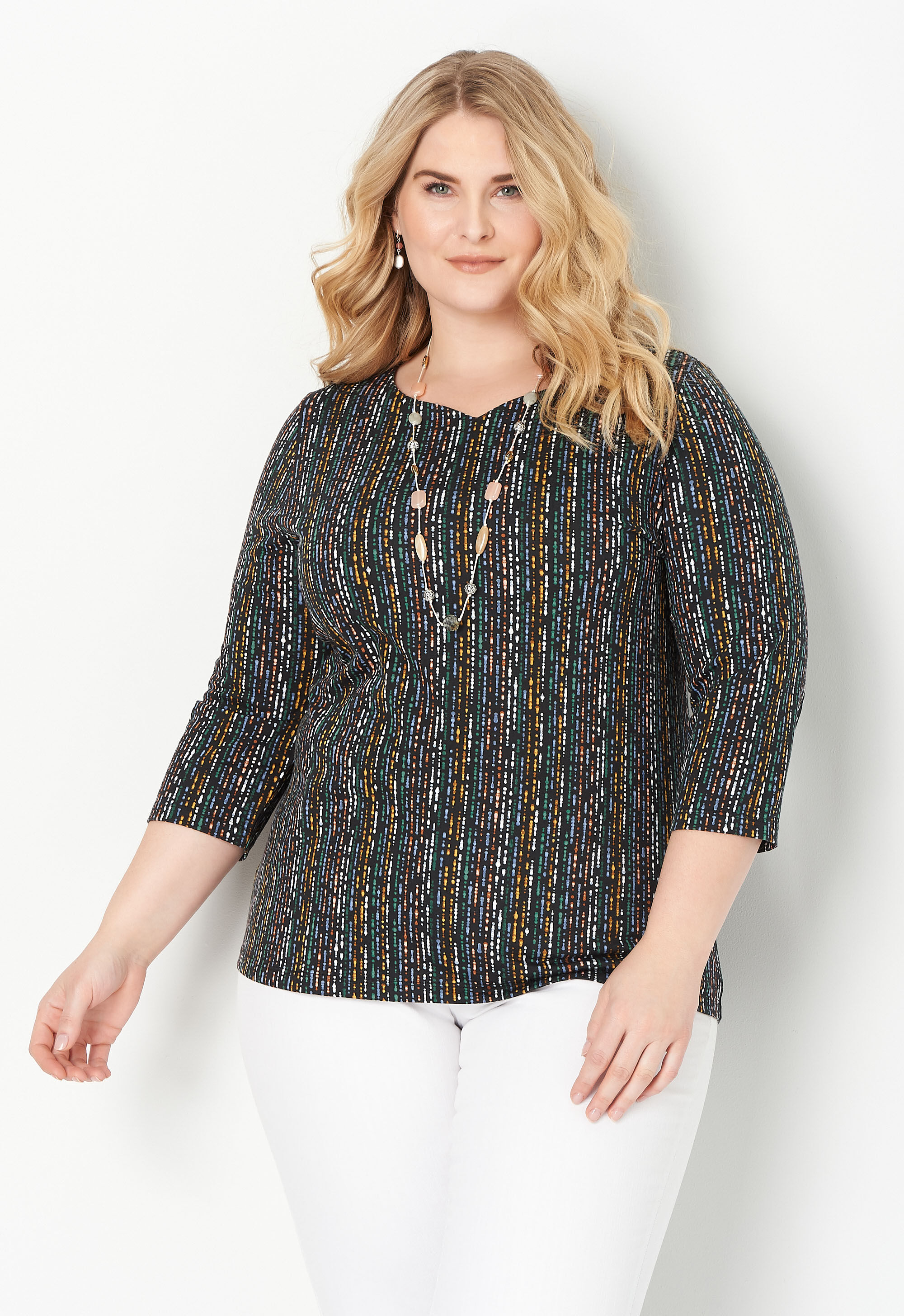 Multi Abstract Print Plus Size Tee 9