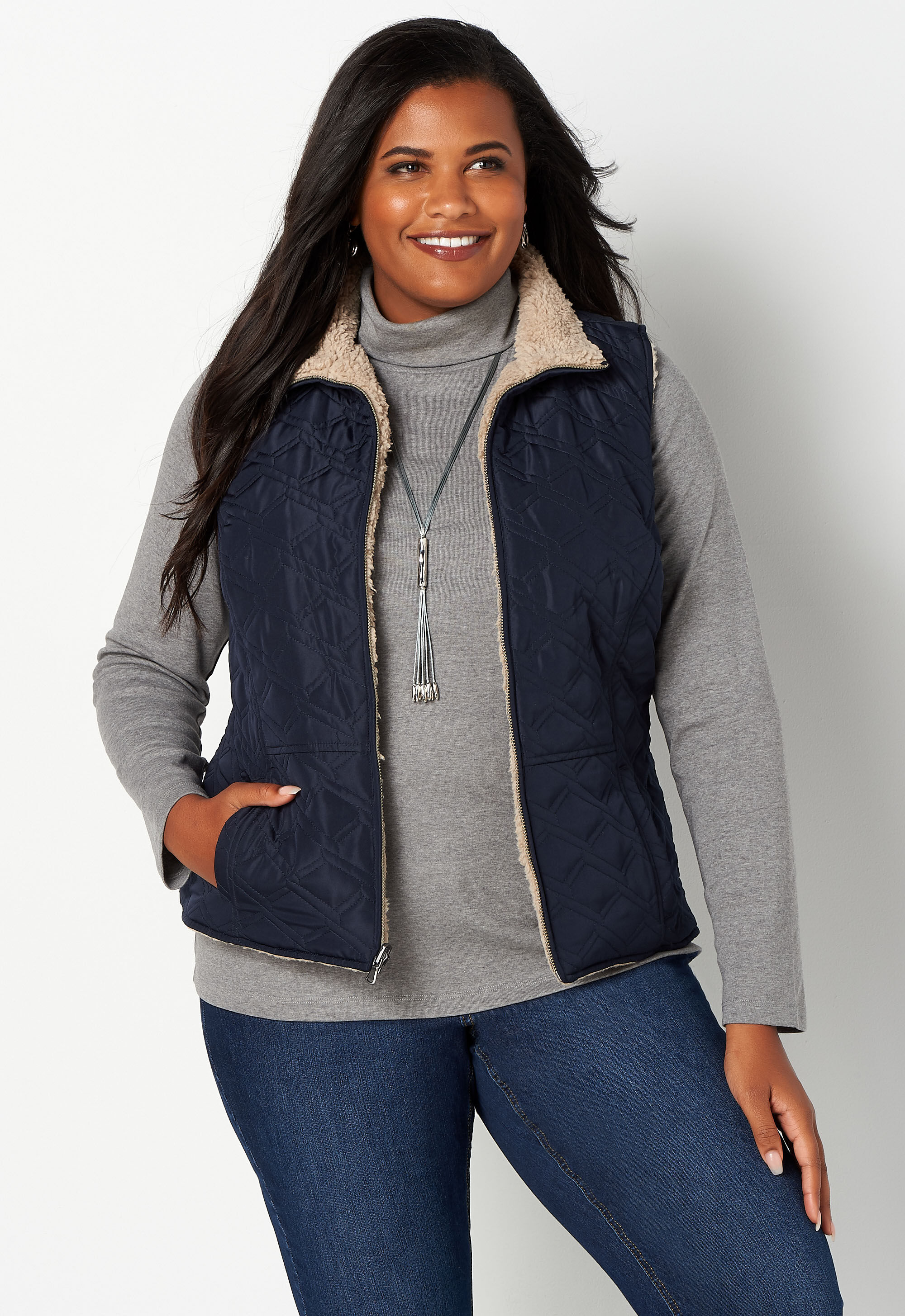 Reversible Faux Fur Plus Size Quilted Vest 18