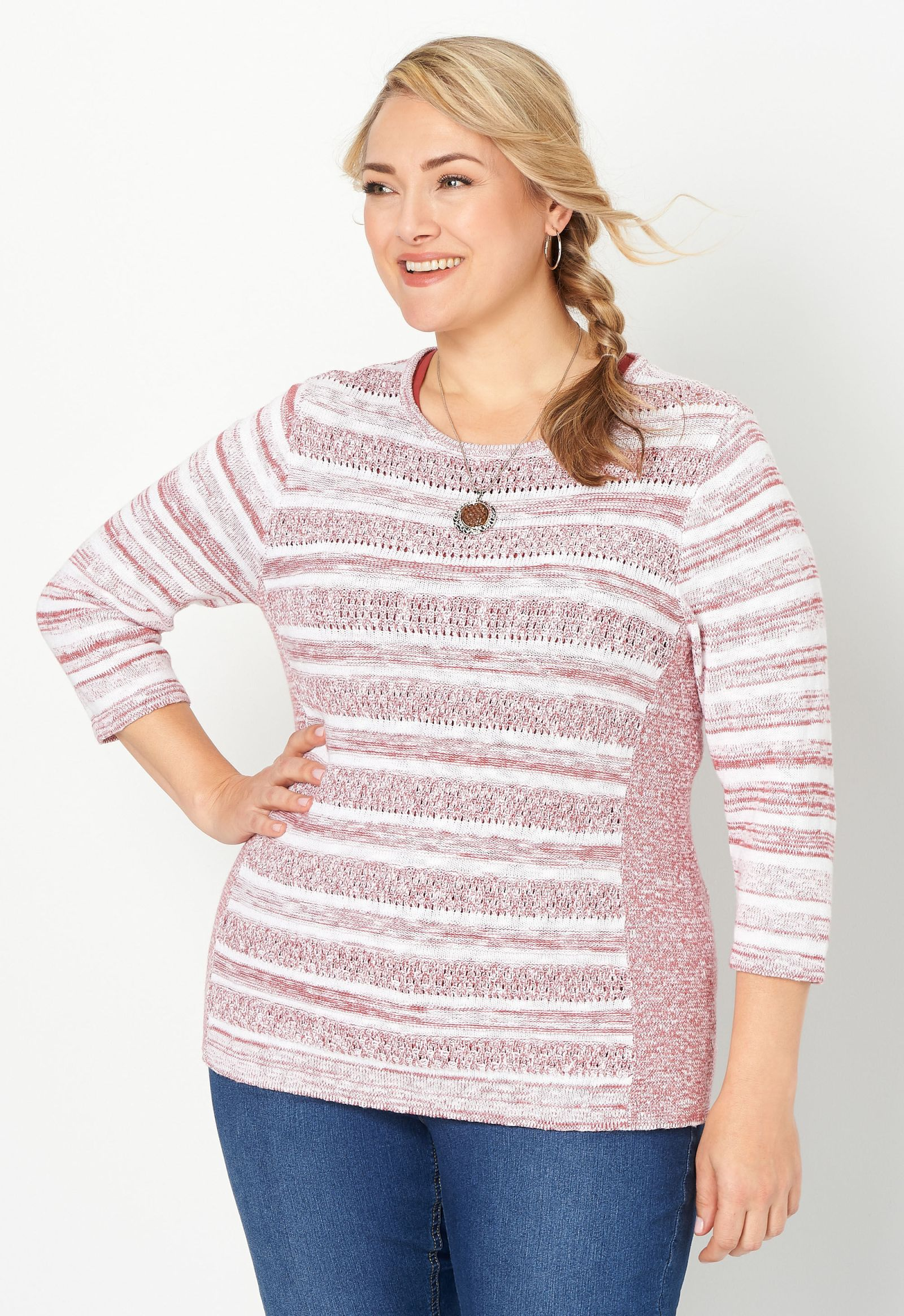Stitch Detail Plus Size Pullover Sweater 2