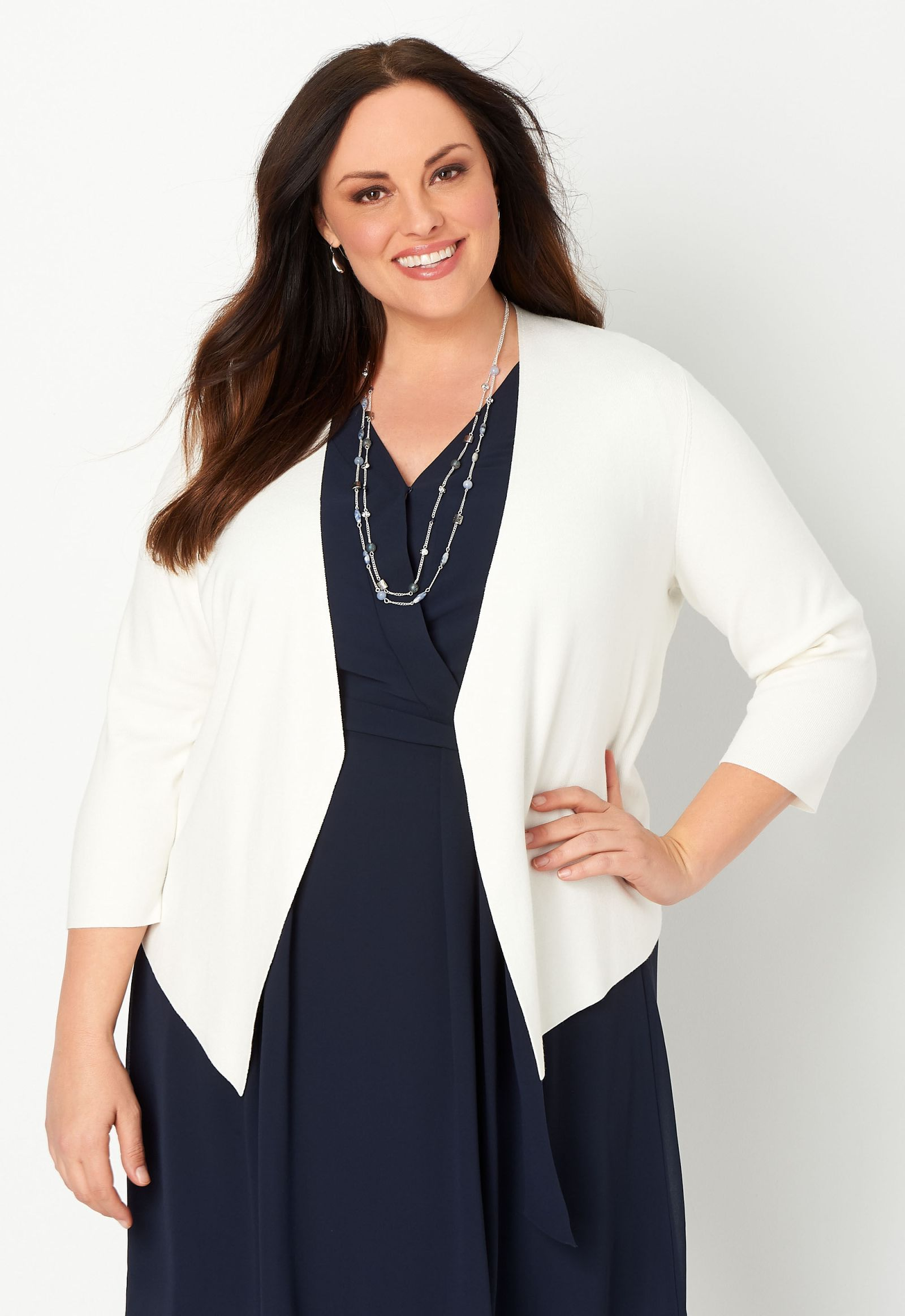 Solid Drape Front Plus Size Cardigan Sweater 2