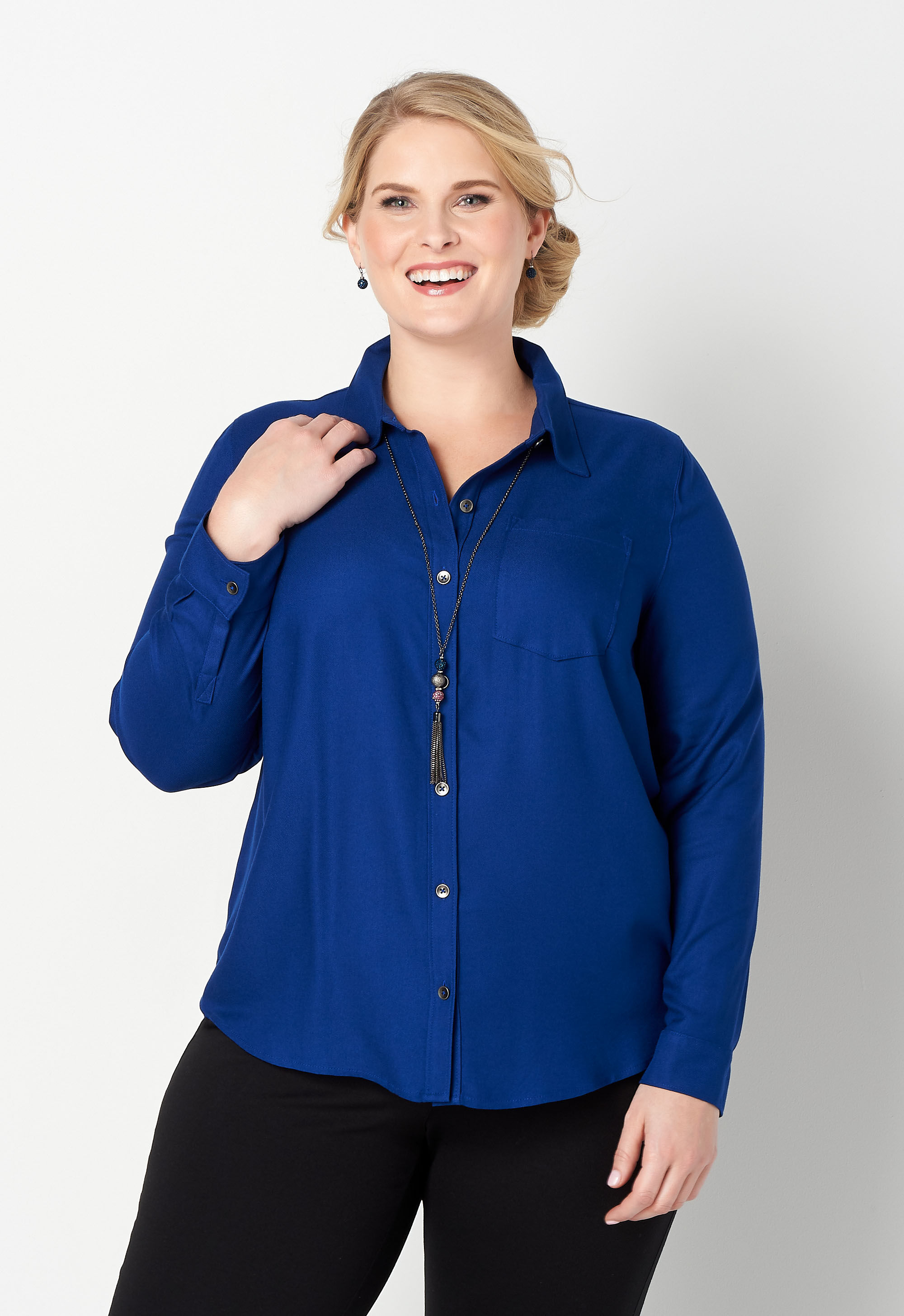 Solid Plus Size Blouse 12