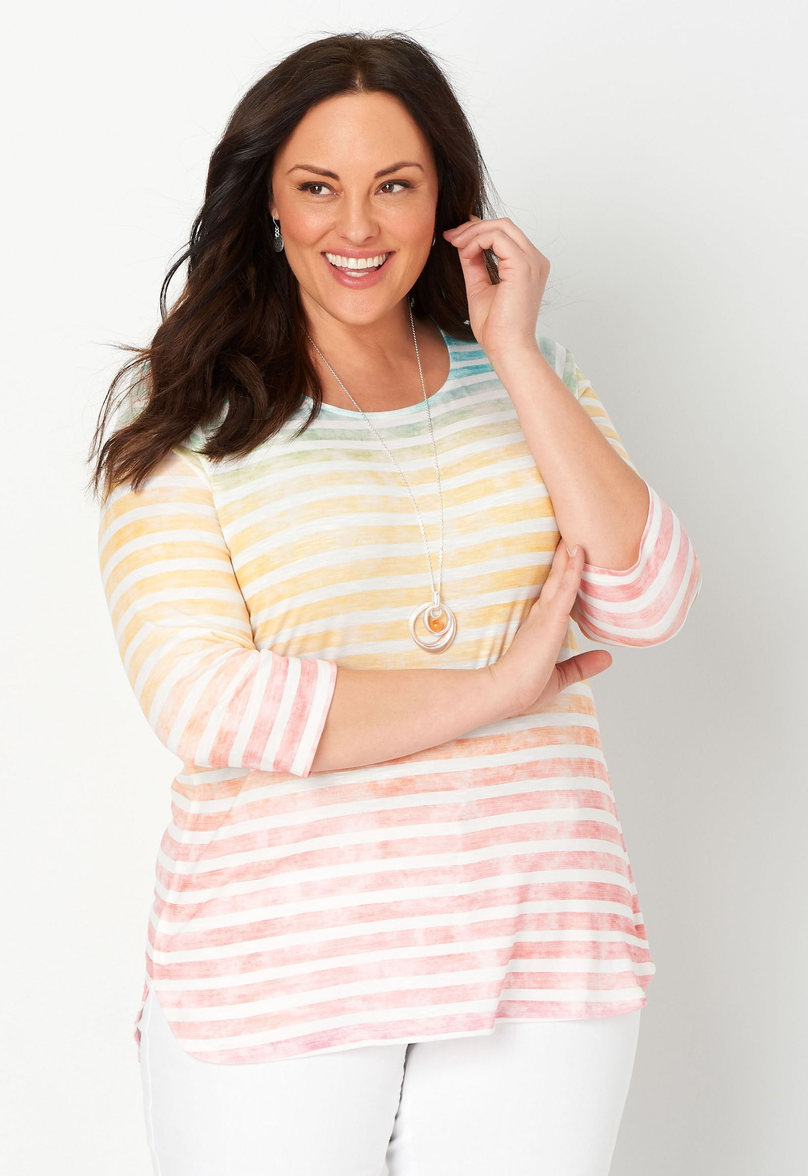 Multi Stripe Printed Plus Size Tee 2