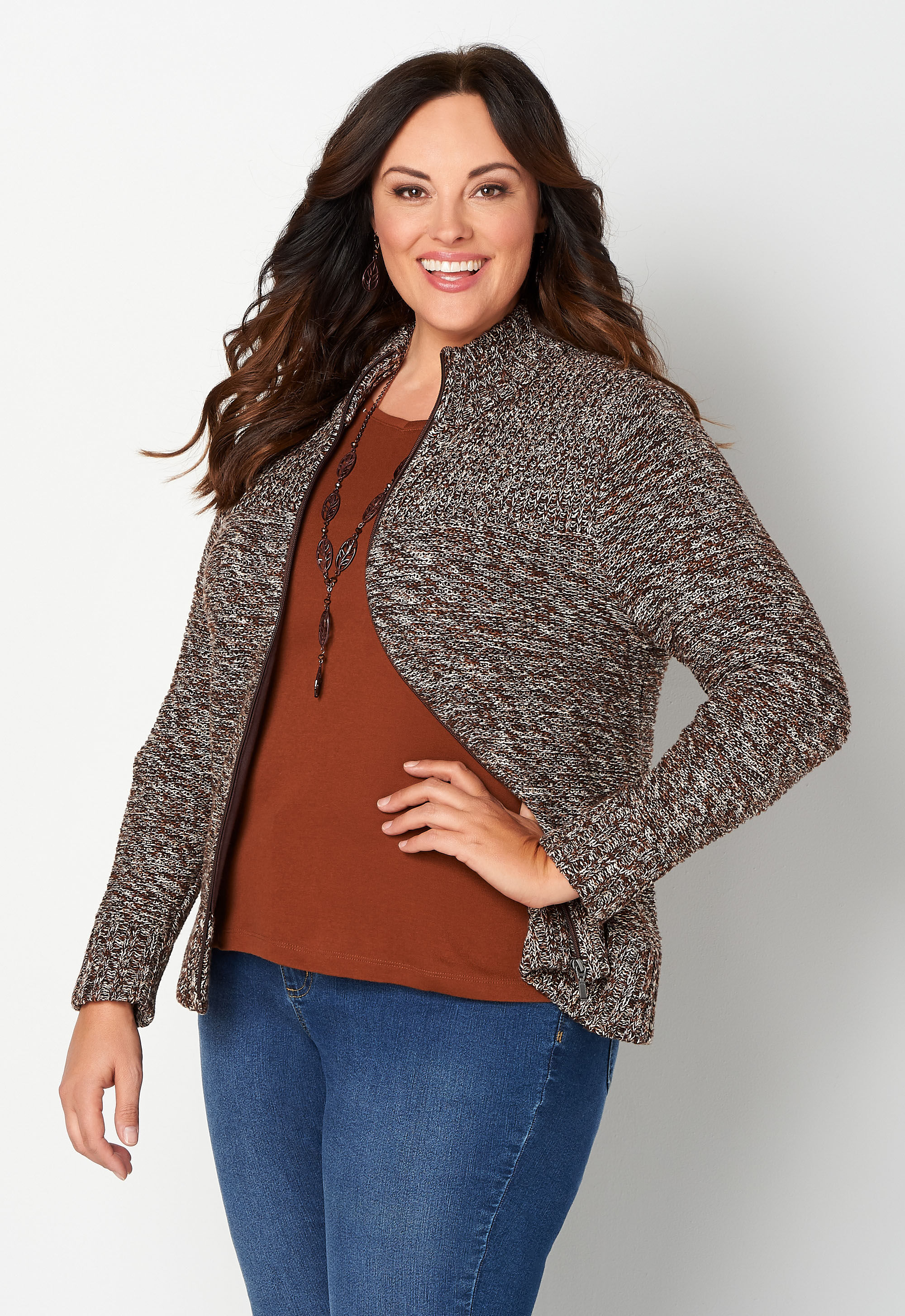 Zip Front Marled Plus Size Cardigan Sweater 4