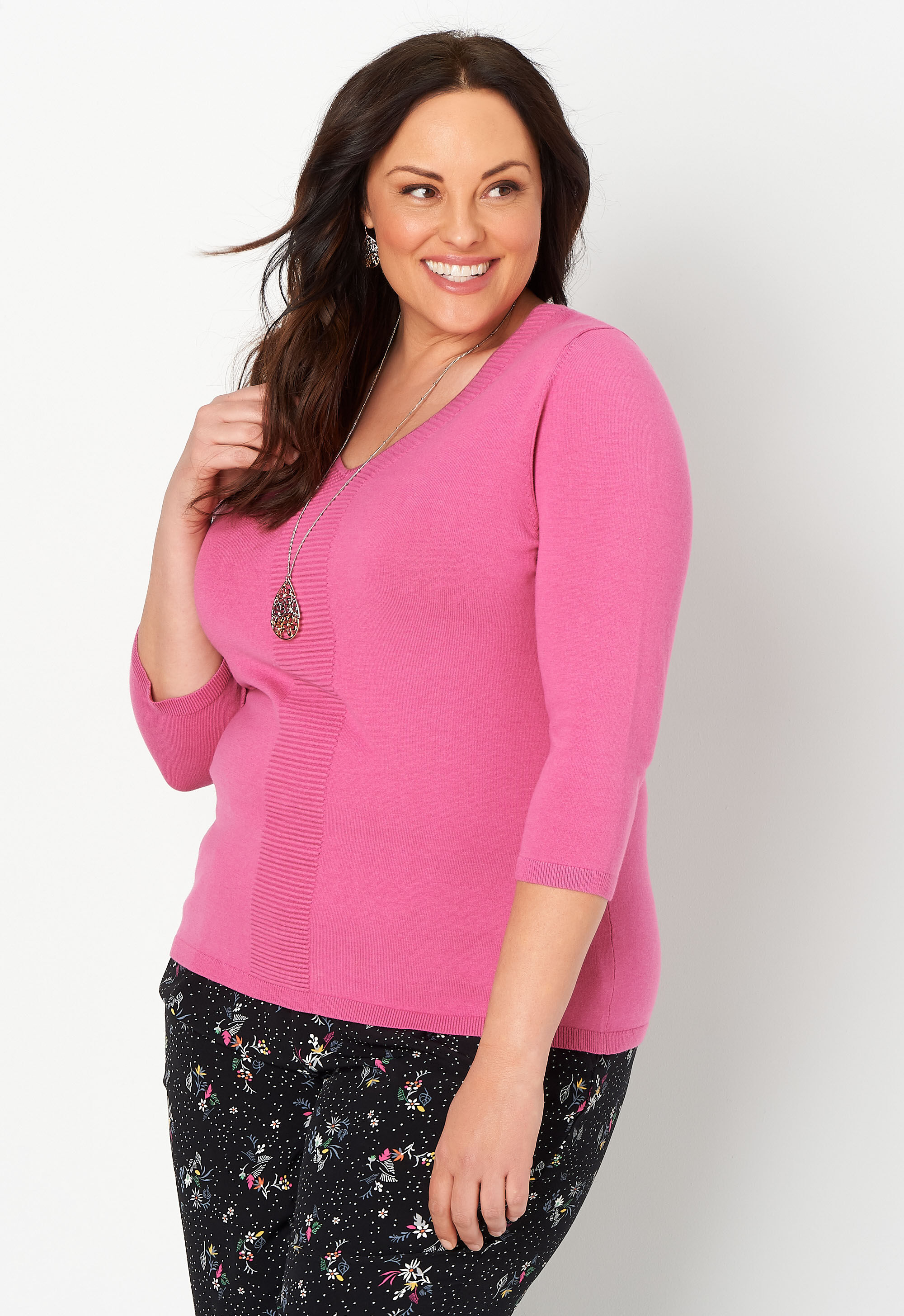 V Neck Ottoman Front Plus Size Pullover Sweater 4