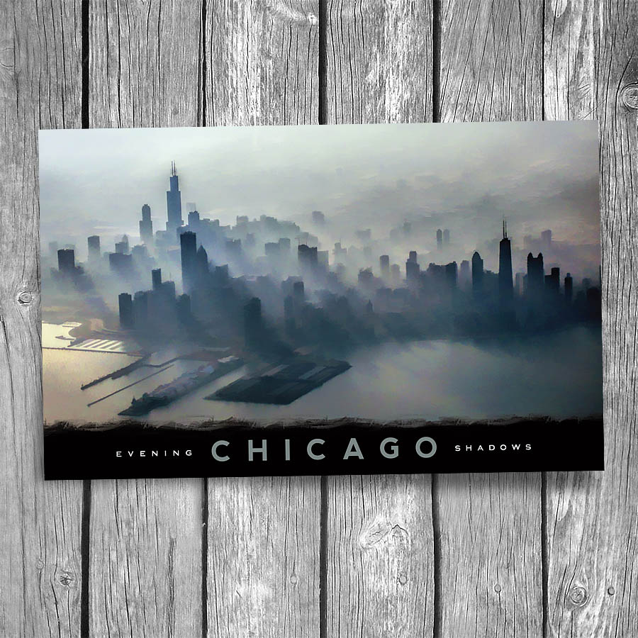 Chicago Skyline Shadows Postcard Christopher Arndt