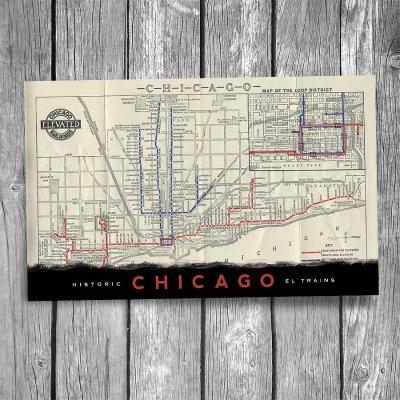 "Historic Chicago ""L"" Map Postcard"