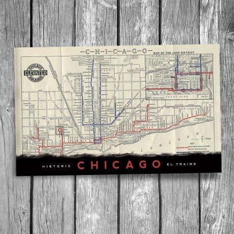 176-Chicago-El-Map-Postcard-Front