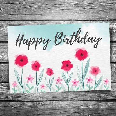 Happy Birthday Flowers Postcard