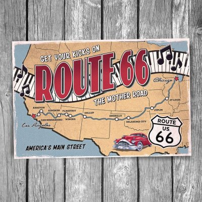 Get Your Kicks on Route 66 Map Postcard