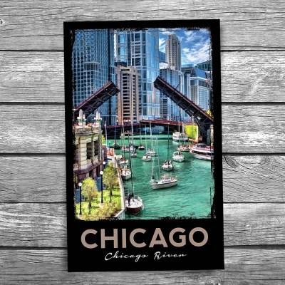 Chicago River Sailboat Migration Postcard