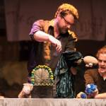 Christopher working a puppet in The Princess Knight (Solar Stage), with April Leung and Victor Pokinko. Photography by Dahlia Katz.