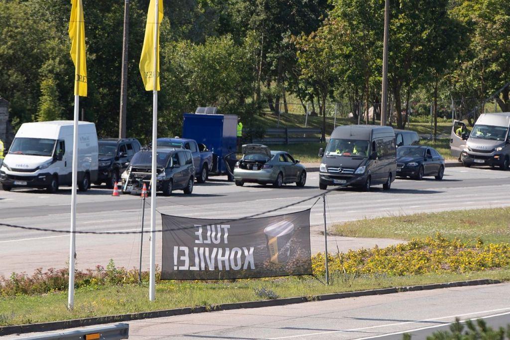 Pendant le tournage de Tenet sur Laagna tee, Estonie, le 18 juillet 2019