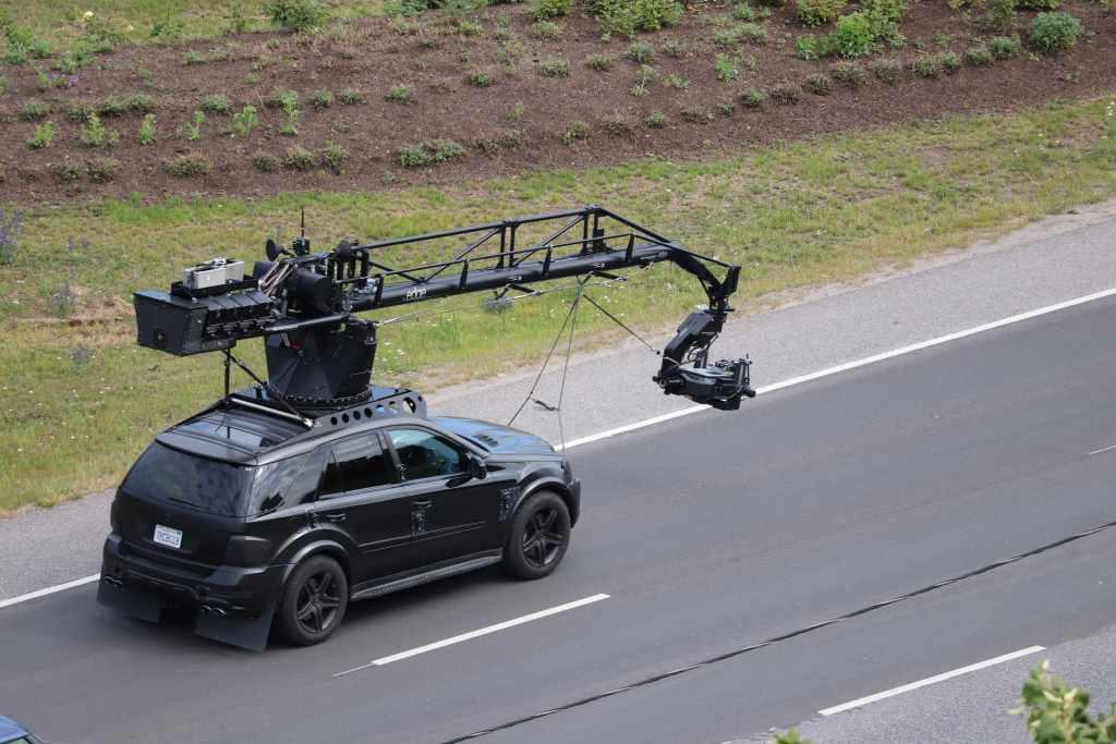 Pendant le tournage de Tenet sur Laagna tee, Estonie, le 21 juillet 2019