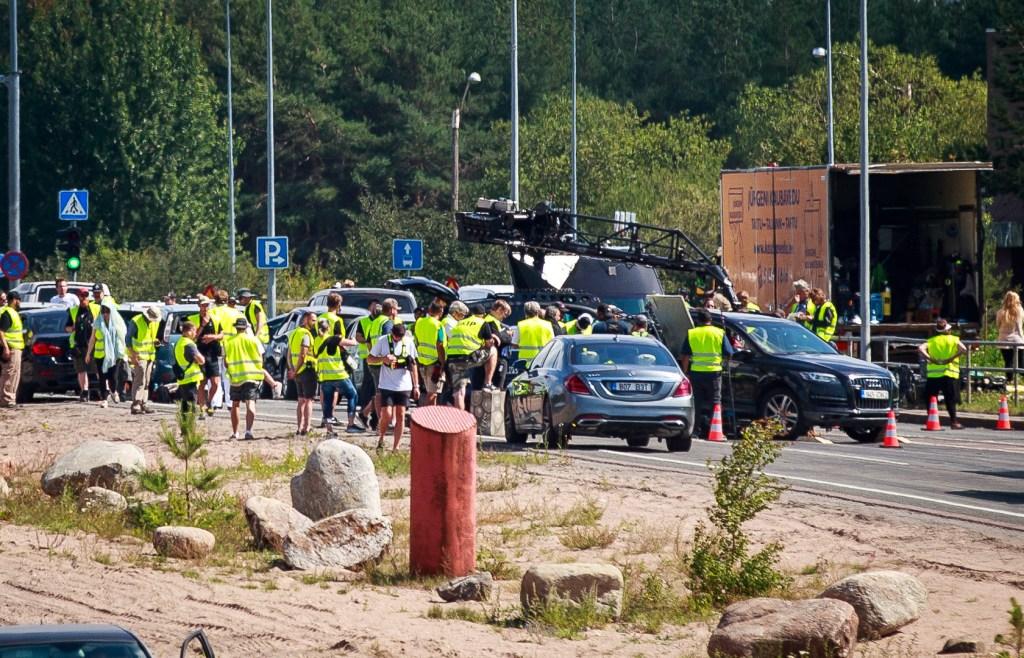 Pendant le tournage de Tenet sur Laagna tee, Estonie, le 25 juillet 2019