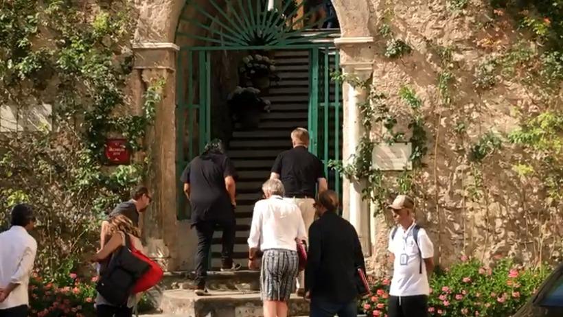 Hoyte van Hoytema et Christopher Nolan au Belmond Hotel Caruso, Italie, pour le tournage de Tenet, le 2 août 2019