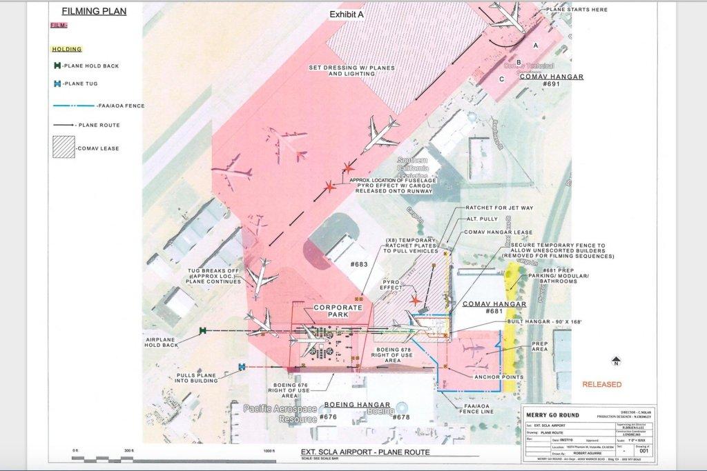 Plan de vol d'une scène de Tenet filmée à Eagle Mountain en Californie en octobre 2019