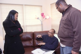 """L to R: Tatyana Ali, Christopher C. Odom, Cornelius Booker III on the set of """"23rd Psalm: Redemption"""""""