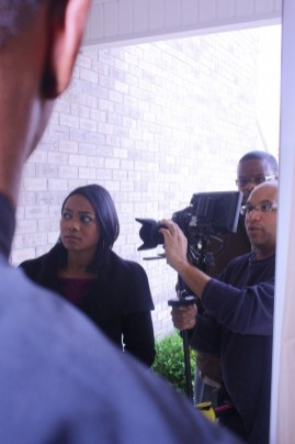 """L to R: Tatyana Ali, Cornelius Booker III, Christopher C. Odom on the set of """"23rd Psalm: Redemption"""""""