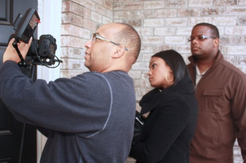 """L to R: Christopher C. Odom, Tatyana Ali, Cornelius Booker III on the set of """"23rd Psalm: Redemption"""""""