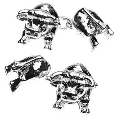 bull cufflinks silver plated