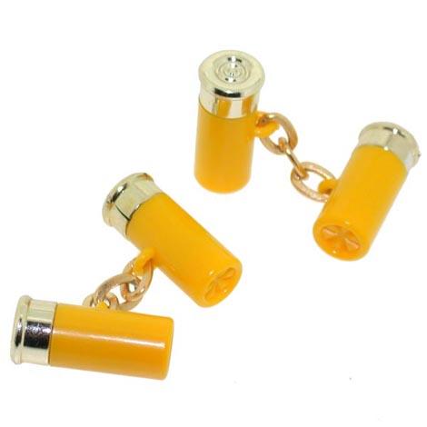 Yellow Shotgun Cartridge Cufflinks in a Shotgun Cartridge Case